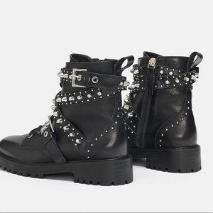 Nwt Zara Leather Jewel Detail Ankle
